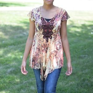 Sheer Flowy Top: Orange and Yellow